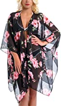 Women's Chiffon Sheer Kimono Floral Cardigan Capes Beach Swimsuit Loose Cover up