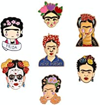 Frida Kahlo DAY OF THE DEAD enamel brooch pin badge Mexican Artist Feminist