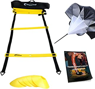 Trained Agility Ladder Bundle 6 Sports Cones, Free Speed Chute, Agility Drills eBook and Carry Case