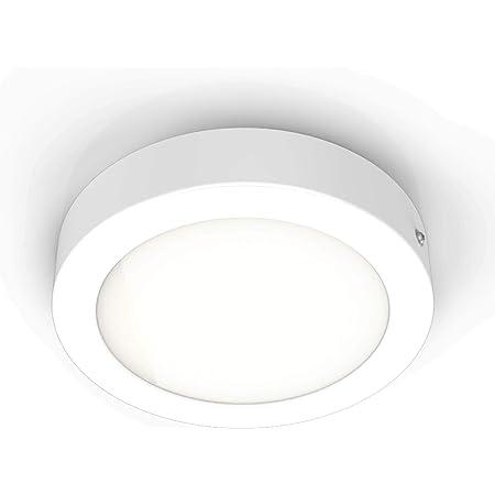 B.K.Licht spot LED en saillie rond, éclairage intérieur plafond, platine 12W intégrée, blanc chaud 3000 Kelvin, remplace 80W halogène, 900 Lumen, Ø170mm, blanc