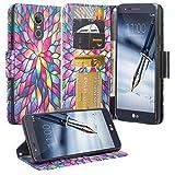 Galaxy Wireless GW Case for LG K40 LMX420, LG Solo 4G LTE L423DL, LG Harmony 3/K12 Plus/X4 /Xpression Plus 2 Case [Kickstand] Pu Leather Wallet Case ID & Credit Card Slot Cover - Rainbow Flower