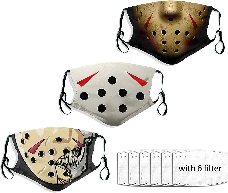 Men Women's 3pcs Scary Halloween Face Mask Anonymous Terror Ghost Devil Horror Mask Adjustable Earloops Balaclava-F