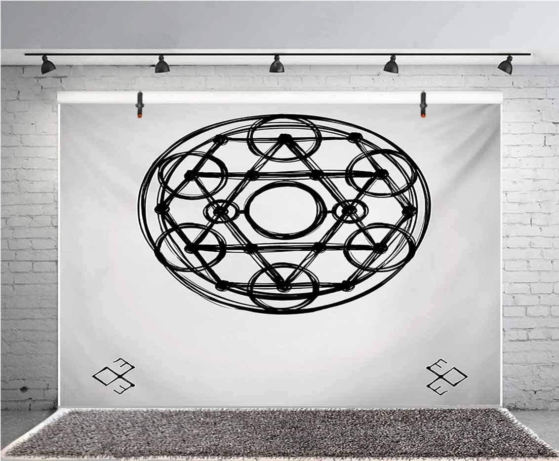 Sacred Geometry 8x6 FT Vinyl Backdrop PhotographersMinimalistic Rounds Form Multiple Symmetrical Triangles Occult Concept Background for Baby Birthday Party Wedding Graduation Home Decoration