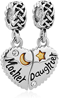 Charmed Craft Heart Mother Daughter Charm I Love You To The Moon And Back Beads