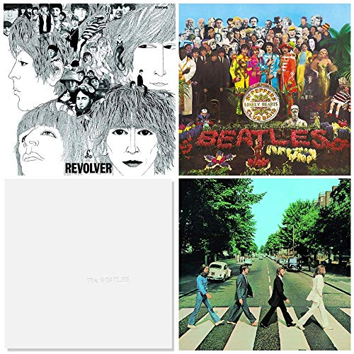 The Beatles: 12', 33 rpm LP Vinyl Record Collection - 4 Classic Albums (Revolver / Sgt. Peppers / White Album - 50th Anniversary Edition / Abbey Road)
