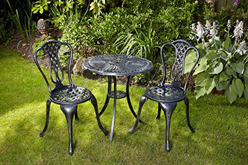 Home Source Grey Bistro Set Outdoor Patio Garden Furniture Table and Metal Frame, 2 Chairs