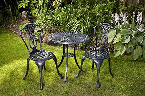 Home Source Grey Bistro Set Outdoor Patio Garden Furniture Table and Metal...
