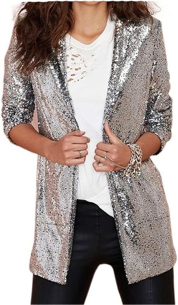 Women Sequin Blazer Jacket Elegant Suit Coat Night Club Glitter Shiny Outwear