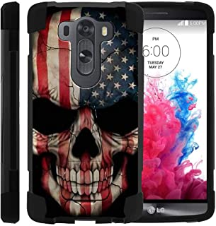 TurtleArmor | Compatible with LG V10 Case | LG G4 Pro Case [Dynamic Shell] Hybrid Dual Layer Hard Shell Kickstand Silicone Case - US Flag Skull
