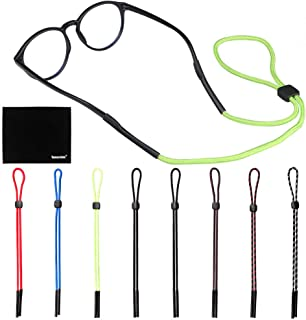 [8 Pack] Adjustable Eyeglasses and Sunglasses Holder Strap Cord for Sports, Eyeglass Retainer with One Free Microfiber Cleaning Cloths(8 Pack)