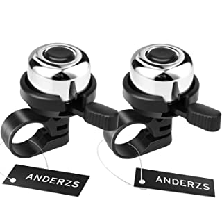ANDERZS 2pcs Bike Bell Bicycle Bell (Silver), Bike Bells for Adults and Kids, Crisp Loud Melodious Sound, Mountain Bike Be...