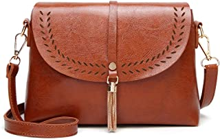Sturdy Handbag Leather Messenger Handbag New Women's Retro Shell Tassel Handbag Fashion Trend Lightweight PU Shoulder Handbag Large Capacity (Color : Brown)