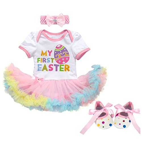Kehen My 1st Easter Outfit Infant Baby Girl Romper+Tutu Skirt+Headband+Leg Warmers Rabbit Dress 4Pcs Clothes Set