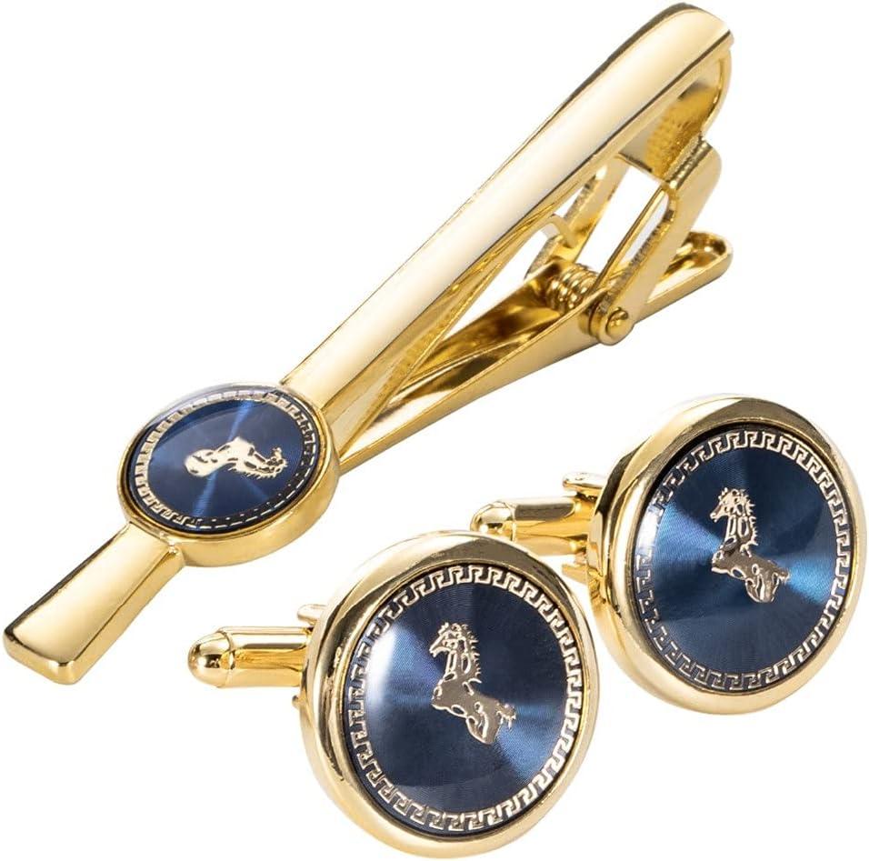 UXZDX Gold Horse Cufflinks Brand Cheap Sale Venue Necktie Clip Ranking TOP13 for Tie Pin Gif Mens