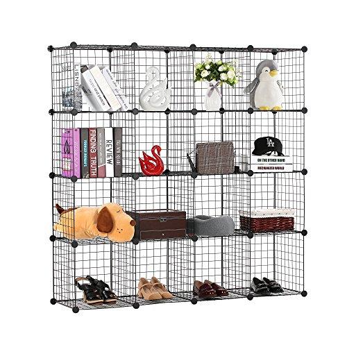 BASTUO - Estantería de almacenaje de Alambre para 16 Cubos, Cubos modulares, Armario para Juguetes, Libros, Ropa, Color Negro