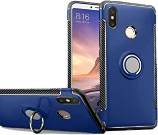 Xiaomi Mi Max 3 Case, Ranyi [2 Piece Ring Cover] [Adsorbed Iron Plate] [360 Rotating Metal Ring] Premium Hybrid 360 Full Body Protective 2 in 1 Case for Xiaomi Mi Max 3 (2018), Blue