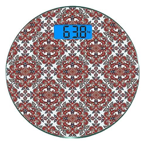 Escala digital de peso corporal de precisión Ronda Aptitud Báscula de baño de vidrio templado ultra delgado Mediciones de peso precisas,Deportes y dieta Balance Nutrición Bicicleta Orgánica Alimentos