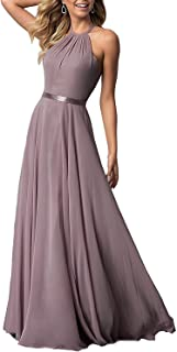 Women's Halter Long Bridesmaid Dresses Open Back A-line Formal Evening Party Gowns