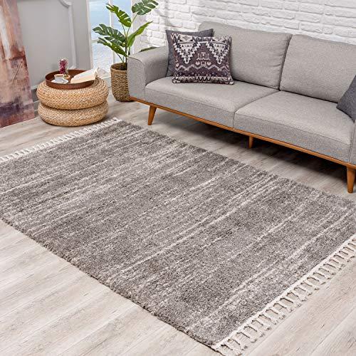 Teppich Hochflor Wohnzimmer - Ethno Stil Meliert 240x340 cm Grau Creme - Teppiche mit Fransen
