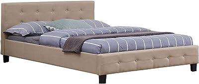 IDIMEX Lit Double pour Adulte Josy Couchage 140 x 190 cm avec sommier 2 Places / 2 Personnes, tête et Pied de lit capitonnés avec Strass, revêtement en Tissu Beige