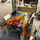 Home's Nuevo Árbol De Pintura Al Óleo Mantel Impreso De Poliéster Mantel Impermeable Y Resistente Al Aceite Mantel Sucio Mesa De Comedor Mantel Mesa De Centro140x200cm