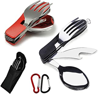 Andiniu 2-PACK 4-in-1 BBQ Camping Utensils(Fork/Spoon/Knife/Bottle Opener), Stainless Steel Folding Camping Cutlery Tool f...