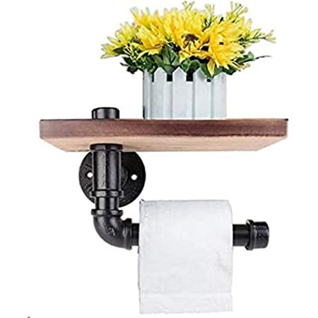 Porte-papier toilette Étagère murale décorative - Style industriel - Tuyau en acier - Avec étagère en bois pour décoration de salle de bain