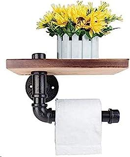 Porte-papier toilette Étagère murale décorative - Style industriel - Tuyau en acier - Avec étagère en bois pour décoration...