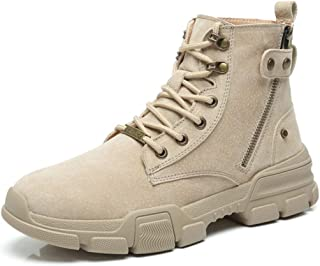 Dr. Martin Unisex Boots Leather British fashion boots breathable tooling leather boots trend high-top boots wild retro tide shoes side zipper high-top ankle boots (Color : Beige, Size : 41)