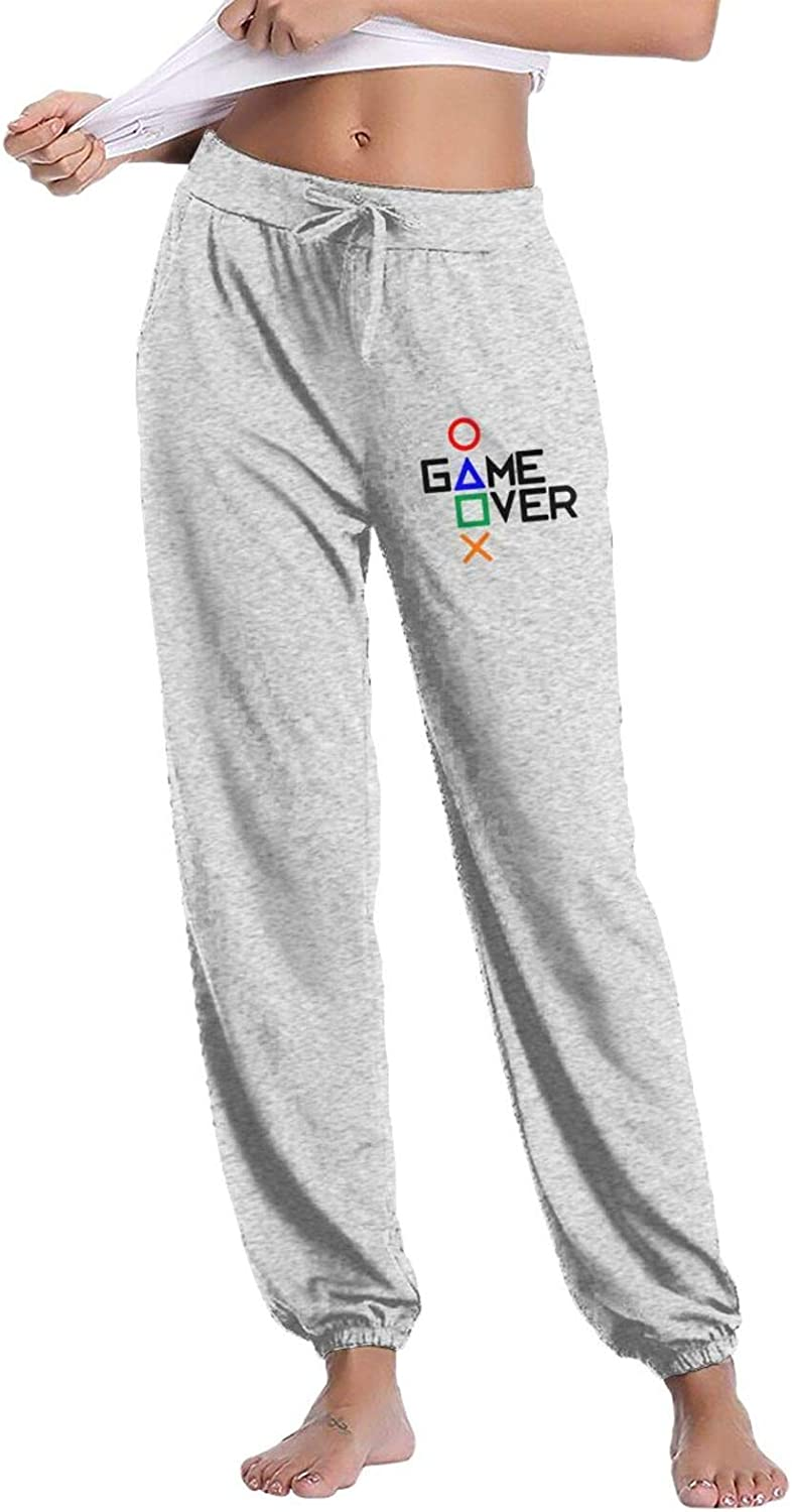 Game Over Women's Comfy Pants Lounge Long Sweatpants Basic Drawstring Trousers with Pockets