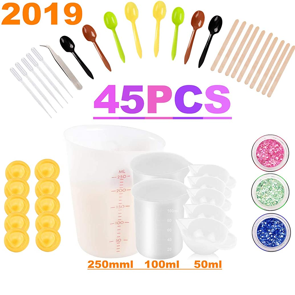 Epoxy Resin Casting Tools Kit,Casting Molds,250ml 100ml Biger Silicone Measuring Cups,Spoons,Dropping Pipettes,Tweezer and Finger Cots Gloves