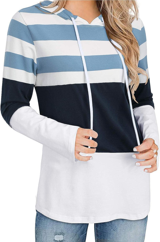 II ININ Women Drawstring Long Sleeve Color Block Stripe Casual Loose Hoodie Pullover Tops T Shirt Tunic