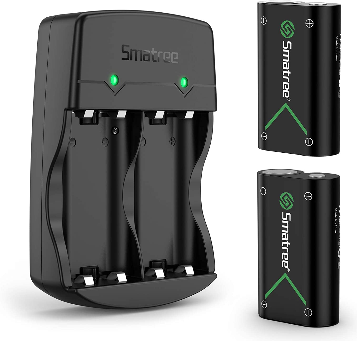 Smatree Rechargeable Battery Compatible for Xbox One/Xbox One S/Xbox One X/Xbox One Elite Wireless Controller, 2 Pack Batteries with Charger