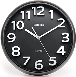 Cockii Wall Clock 13 Inch with Large 3D Numbers, Silent Non-Ticking Quartz Decorative Round Clock, Battery Operated, Easy to Read for Home, Office, School (Black)