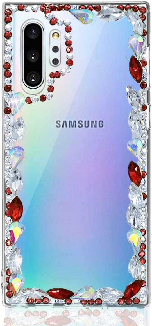 Omio for Galaxy Note 10 Plus 3D Glitter Case Bling Diamond Handmade Sparkle Shiny Crystal Rhinestone Stone Jewelry Bumper Clear Protective Case Women Girl Luxury Shockproof Cover for Galaxy Note 10+