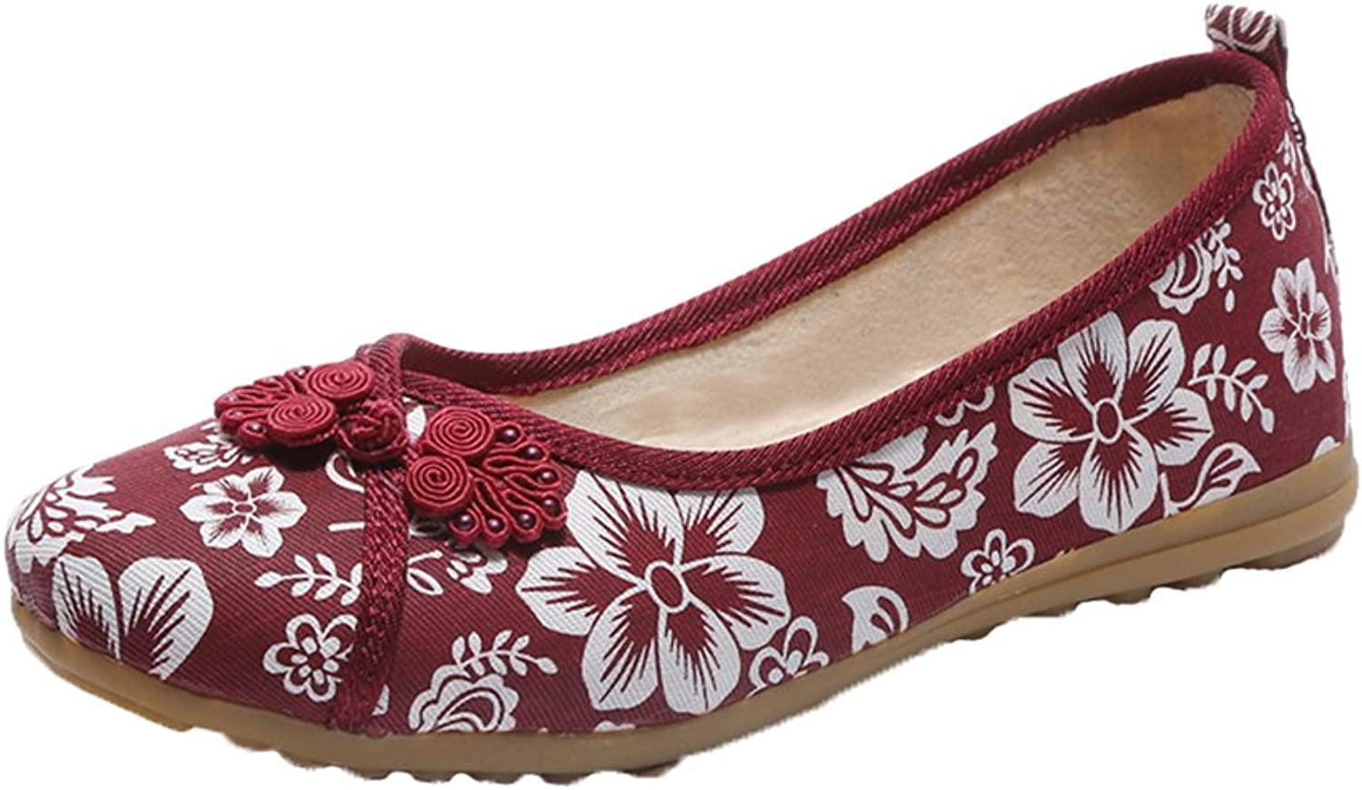 Kyle Walsh Pa Women Folk Style Embroidery Round Toe Flat shoes