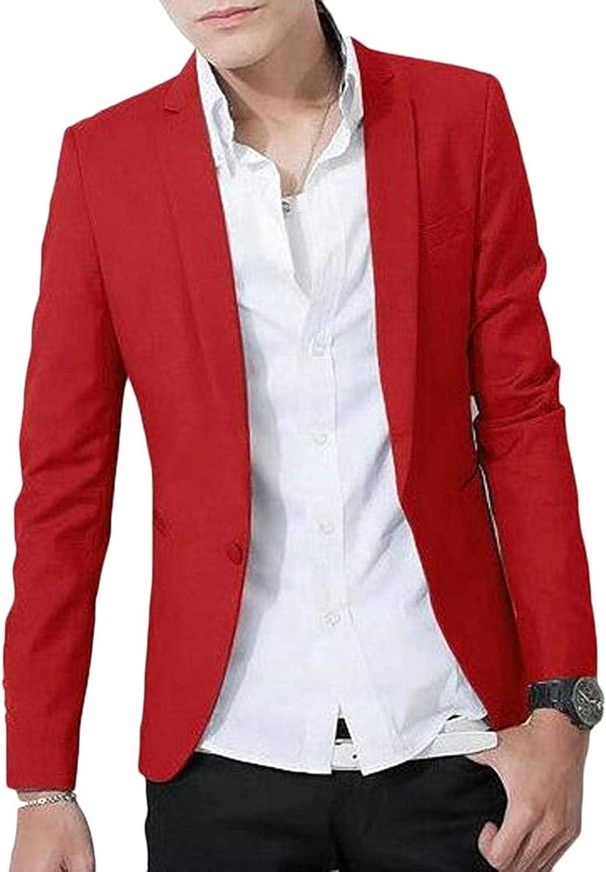 Men Casual Slim Fit Solid 1 Button Sport Coat Lapel Blazer Jacket