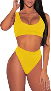 Women's Two Pieces Bikini Sets Low Scoop Crop Top High Waisted Swimsuit