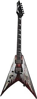 Dean Guitars 6 String Dean V Dave Mustaine Electric Guitar - AOD w/Case Lefty, Angel Of Deth Graphic (VMNT L