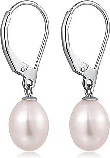 Sterling Silver White Pearl EarringsWhite Dangle Pearl EarringsFreshwater Cultured Tear Drop Pearl Earrings 8mm Pearl Drop EarringsVintage Pearl Dangle Earrings For WomenGirls