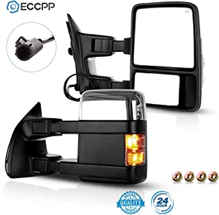 LUJUNTEC Tow Mirrors Replacement fit for 2003-2007 F250 F350 F450 F550 Super Duty Series Pickup Towing Mirrors Driver and Passenger Side Power Heated LED Turn Signal Puddle Light Chrome