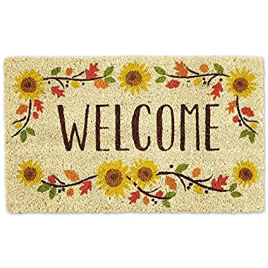 DII Indoor/Outdoor Natural Coir Easy Clean Rubber Non Slip Backing Entry Way Doormat For Patio, Front Door, All Weather Exterior Doors, 18 x 30  - Wlcome Sunflower