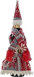 Sandy Ckingys Noël écharpe tricotée avec Chapeau Jupe Ensemble Bouteille Fournitures Décoration Décoration de Vacances Convient for Noël Décoration Noël (Color : Red)