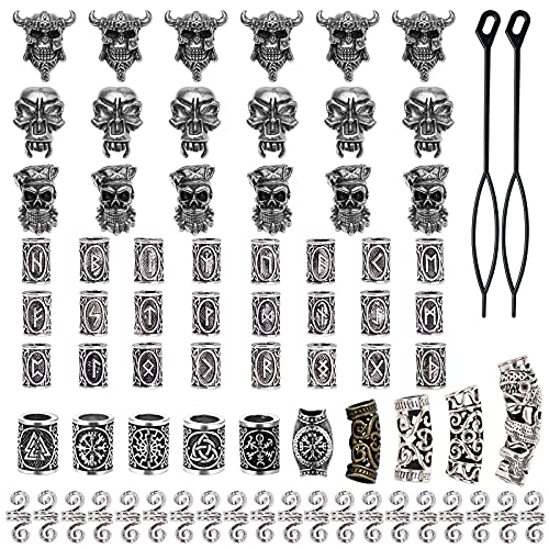 74 Pieces Viking Beard Beads Celtic Beads Antique Norse Hair Tube Beads Pirate Skull Dreadlocks Beads for Hair Braiding Bracelet Pendant Necklace Silver DIY Jewelry Hair Decoration