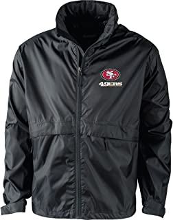 NFL San Francisco 49Ers Men's Sportsman Waterproof Windbreaker Jacket, Black, 2x