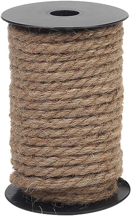 Vivifying Cuerda de yute de 8 mm, cuerda natural resistente para manualidades, poste rascador de gato, paquete (marrón)