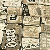 Dekostoff American Diner hellbraun beige Canvas Stoffe -