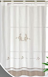 Forentex Cortinas Cocina M-1044 Bordados florales decorativos para ventanas, Polyester, Blanco M-150x150 cm