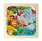 Hess Jouet en Bois 14930Puzzle Animaux de la Jungle, 24x 24cm, Multicolore