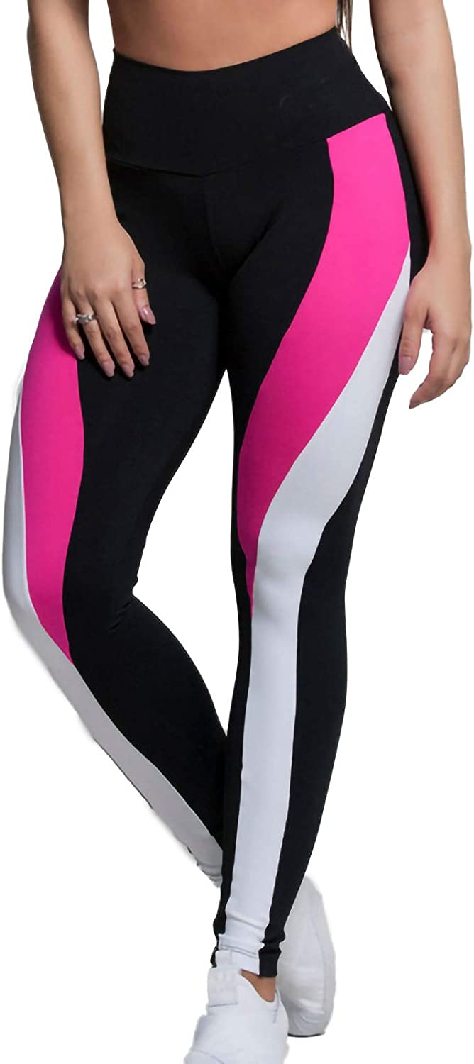 Hotkey Yoga Pants for Women, High Waist Color Block Patchwork Yoga Tights Stretch Butt Lift Exercise Athletic Pants